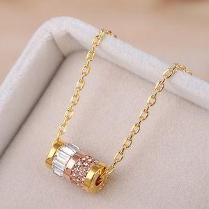 MK crystal barrel pendant necklace